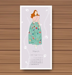 March hand drawn fashion models calendar 2016 vector