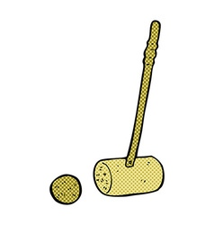 Comic cartoon croquet mallet and ball vector