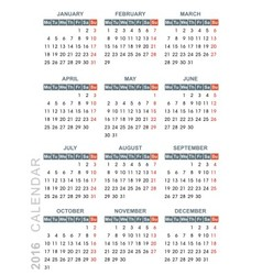 calendar 2016 week starts monday vector image