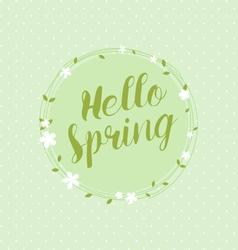Hello spring circular floral wreaths vector