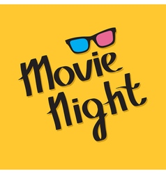 3d glasses movie night text lettering yellow vector