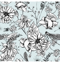 Vintage garden flowers seamless pattern vector image