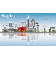 Bangalore skyline with gray buildings vector