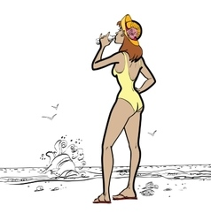Sea woman in swimsuit drinking water vector