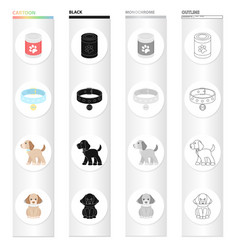 bank with food a collar with a medal a puppy is vector image