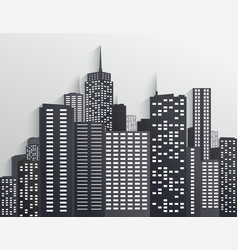 black and white city skyline vector image