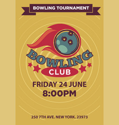 bowling tournament poster template vector image