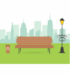 city park scene wooden bench with urn and lantern vector image vector image
