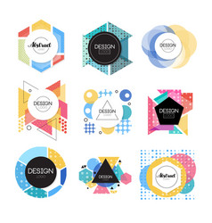 colorful abstract design logo set geometric shape vector image vector image