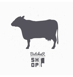 Cow silhouette beef meat butcher shop logo vector