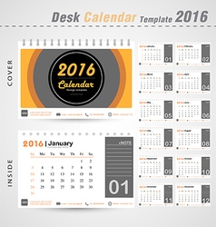 Desk calendar 2016 modern Circle design cover vector image