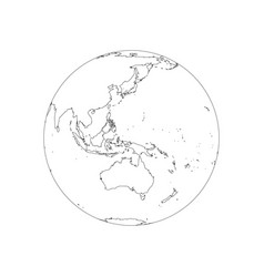 earth globe wireframe focused on australia and vector image
