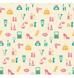 Hairstyling fashion and makeup seamless pattern vector image