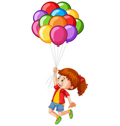 happy girl with colorful balloons vector image vector image
