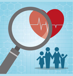 Heartbeat search family medical vector