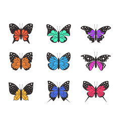 icons of butterflies4 vector image vector image