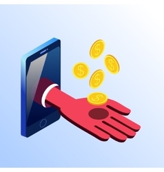 Isometric smartphone showing hand with coins vector image