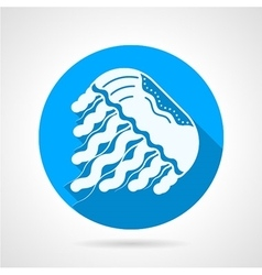 Jellyfish flat blue round icon vector image