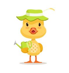 Little cartoon duckling wearing green hat standing vector