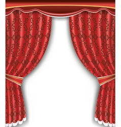 Luxury background with open red curtain vector