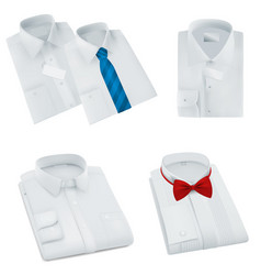 male blank folded shirts set vector image vector image