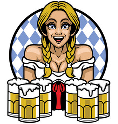 Oktoberfest girl with bunch of glass of beers vector