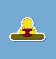 Paper sticker on stylish background man reading vector