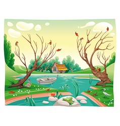 Pond and animals vector image