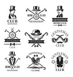 retro badges or labels set for gentleman club vector image vector image