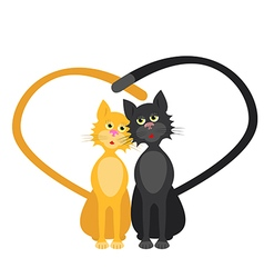 Romantic couple of two loving cats vector