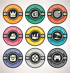 Set of Achievement Badges Flat Labels Coll vector image
