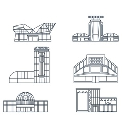 Shopping center facade lines vector image vector image