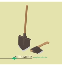 Tools for campaign shovel and an ax Isometric vector image