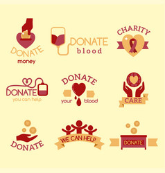 Volunteer red icons charity donation set vector