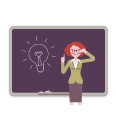 Woman against the blackboard with drawn light bulb vector