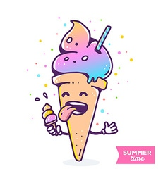 Colorful of gradient character ice cream wit vector