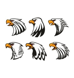 Bald eagle icons set emblems vector