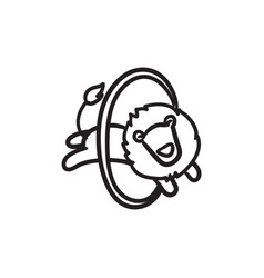 Lion jumping through ring sketch icon vector
