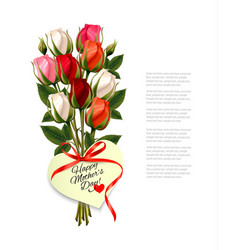 Red roses with a heart-shaped happy mothers day vector