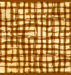 Hand drawn grunge ink grid on old paper seamless vector