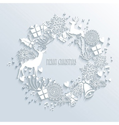 White merry christmas wreath greeting card vector