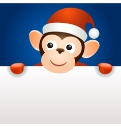 Monkey 2016 christmas new year banner template vector