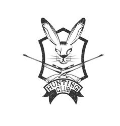 Grunge hunting club crest with carbines and hare vector