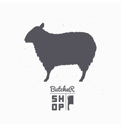 Sheep silhouette lamb meat butcher shop logo vector