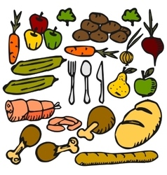 Food vegetable fruit a flat color icon doodle vector
