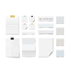 Collection of various blank white paper vector