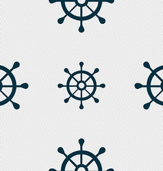 Ship helm icon sign seamless pattern with vector