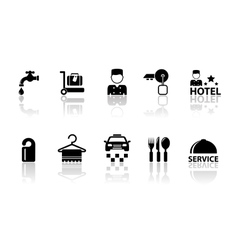 Hotel concept icons with reflection vector