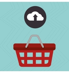 Red basket and cloud isolated icon design vector