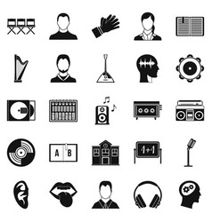 Action icons set simple style vector